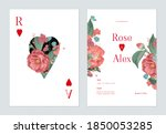 floral wedding invitation card...   Shutterstock .eps vector #1850053285