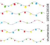 colorful christmas lights bulbs ... | Shutterstock .eps vector #1850128108