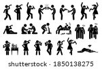 alcoholic man and woman...   Shutterstock .eps vector #1850138275