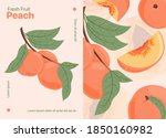 ripe peaches  whole  sliced and ...   Shutterstock .eps vector #1850160982