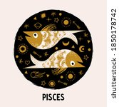 sign of the zodiac pisces.... | Shutterstock .eps vector #1850178742