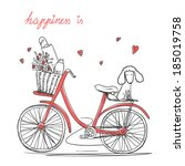 bicycle with a basket full of... | Shutterstock . vector #185019758
