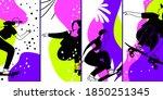 skateboarding characters. neon... | Shutterstock .eps vector #1850251345