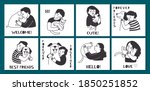 cute cards with hugging people. ... | Shutterstock .eps vector #1850251852