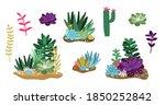 cactus and succulent. terrarium ... | Shutterstock .eps vector #1850252842