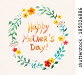 floral circle wreath for mother ... | Shutterstock . vector #185026886