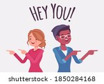 hey you people finger pointing... | Shutterstock .eps vector #1850284168