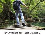 Walking Outdoor Hanging Bridge...