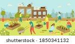 urban building with flat garden ... | Shutterstock .eps vector #1850341132