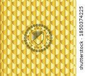 armor icon inside shiny golden... | Shutterstock .eps vector #1850374225