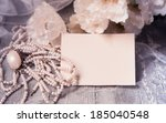 wedding card with white... | Shutterstock . vector #185040548
