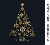 golden snowflakes in the shape... | Shutterstock .eps vector #1850451805