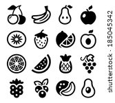 flat fruits icons set. isolated.... | Shutterstock .eps vector #185045342