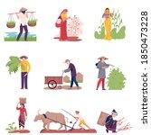 asian farmers gathering... | Shutterstock .eps vector #1850473228