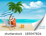 beach with palm trees and beach ... | Shutterstock .eps vector #185047826