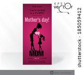 Party Invitation Card Design, Template. Happy Mother's Day. Vector Illustration. Eps 10. - stock vector