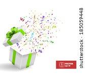 Open Gift Box With Confetti....