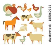 Set Of Farm Animals. Isolated...