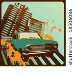60s,70s,abstract,background,car,city,creative,downtown,graphic,green,grunge,illustration,opel,orange,perspective