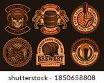 a set of vintage beer emblems.... | Shutterstock .eps vector #1850658808