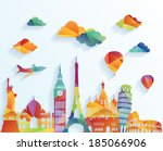 travel and tourism background | Shutterstock .eps vector #185066906