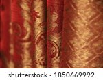 Bright Red Brocade Curtain With ...