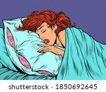 a woman sleeps in a bed on a... | Shutterstock .eps vector #1850692645
