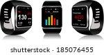 black touchscreen smartwatch... | Shutterstock .eps vector #185076455