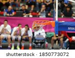 Small photo of June 22, 2013 Euro Basket 2013 in Sweden and Turkey Women's Basketball Women's National Team has encountered in France. The basketball ball goes through the hoop and scores.