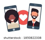 online dating app concept with... | Shutterstock .eps vector #1850822338