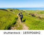 Hikers on Scorpion Canyon Loop trail on Santa Cruz Island, Channel Islands National Park, California