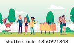 summer landscape with people... | Shutterstock .eps vector #1850921848