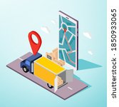 truck box delivery service... | Shutterstock .eps vector #1850933065
