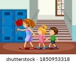 happy children at school...   Shutterstock .eps vector #1850953318