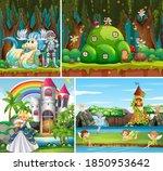 four different scene of fantasy ... | Shutterstock .eps vector #1850953642
