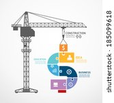 Stock vector infographic template with construction tower crane jigsaw banner concept vector illustration 185099618