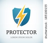 flash and shield symbol protect ...   Shutterstock .eps vector #185100155