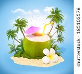 fresh coconut on a sand with... | Shutterstock . vector #185102576