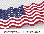 waving american flag vector...   Shutterstock .eps vector #1851056035