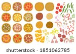 pizza constructor set with base ... | Shutterstock .eps vector #1851062785