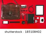 overhead of essentials objects... | Shutterstock . vector #185108402
