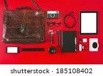 overhead of essentials objects... | Shutterstock . vector #185108402