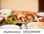 jokbal and soju are placed on... | Shutterstock . vector #1851094585