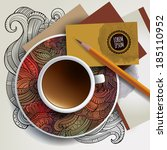 vector cup of coffee  business... | Shutterstock .eps vector #185110952
