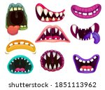 monster mouths with sharp teeth ... | Shutterstock .eps vector #1851113962