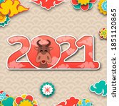 chinese new year 2021 with ox ... | Shutterstock .eps vector #1851120865
