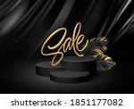 3d realistic black pedestal on...   Shutterstock .eps vector #1851177082