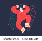 dancing santa   christmas and... | Shutterstock .eps vector #1851183985