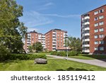 residential district on a sunny ... | Shutterstock . vector #185119412