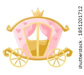 Illustration of princess carriage. Stylized picture for decoration children holiday and party.